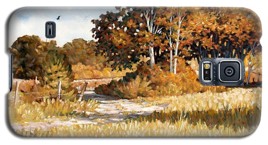 Landscape Galaxy S5 Case featuring the painting Bend In The Road by Kevin Lawrence Leveque