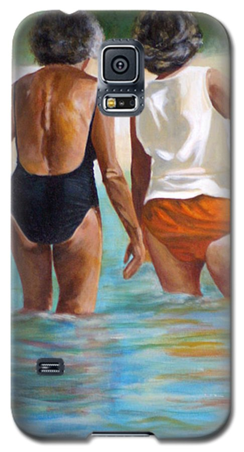 Friends Galaxy S5 Case featuring the painting Best Friends by Fiona Jack