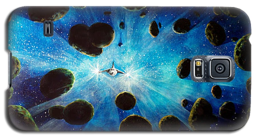 Asteroid Field. Astro Galaxy S5 Case featuring the painting Better Go Around by Murphy Elliott