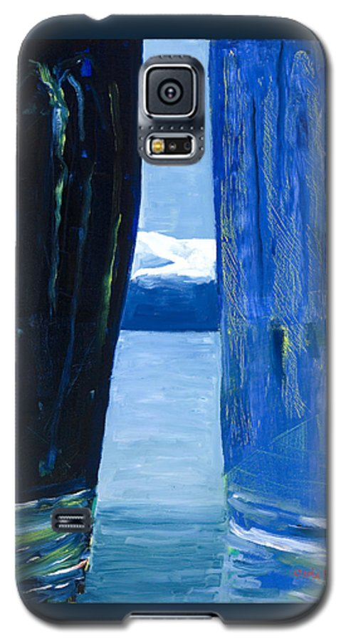 Landscape Galaxy S5 Case featuring the painting Between Two Mountains. by Jarle Rosseland