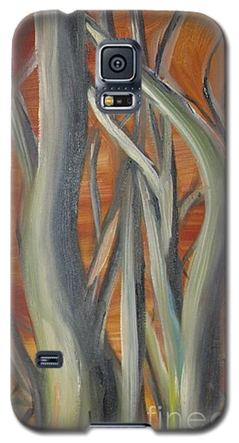 Trees Forest Original Painting Abstract Galaxy S5 Case featuring the painting Beyond by Leila Atkinson