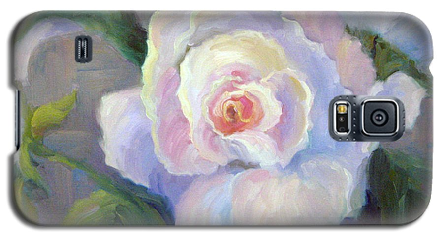 Flower Galaxy S5 Case featuring the painting Big Blushing Rose by Bunny Oliver