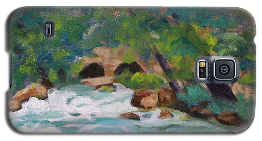 Impressionistic Galaxy S5 Case featuring the painting Big Spring On The Current River by Jan Bennicoff