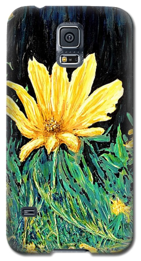Flower Galaxy S5 Case featuring the painting Big Yellow by Ian MacDonald