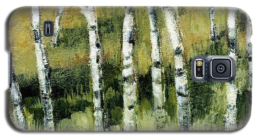 Trees Galaxy S5 Case featuring the painting Birches On A Hill by Michelle Calkins