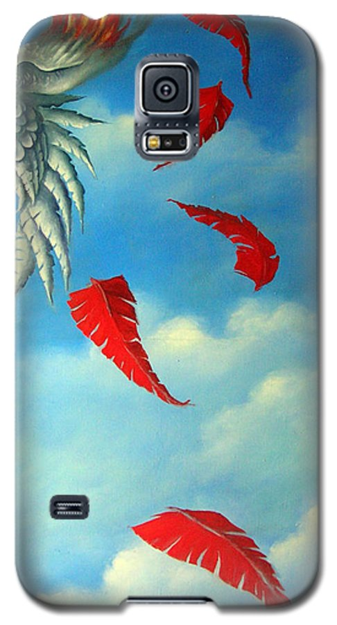 Surreal Galaxy S5 Case featuring the painting Bird On Fire by Valerie Vescovi