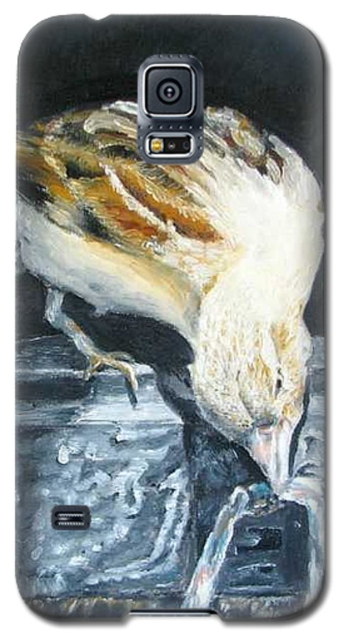 Oil Painting On Canvas Galaxy S5 Case featuring the painting Bird Original Oil Painting by Natalja Picugina