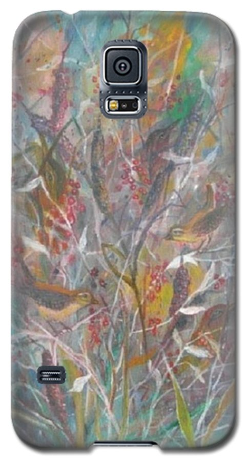 Birds Galaxy S5 Case featuring the painting Birds In A Bush by Ben Kiger