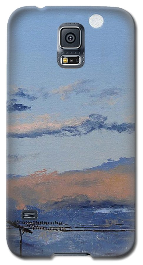 Landscape Galaxy S5 Case featuring the painting Birds On A Wire by Barbara Andolsek