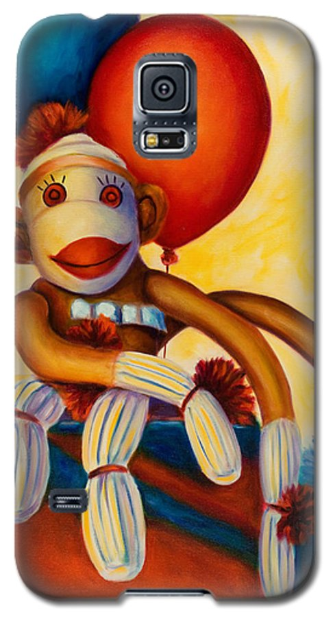Sock Monkey Brown Galaxy S5 Case featuring the painting Birthday Made Of Sockies by Shannon Grissom