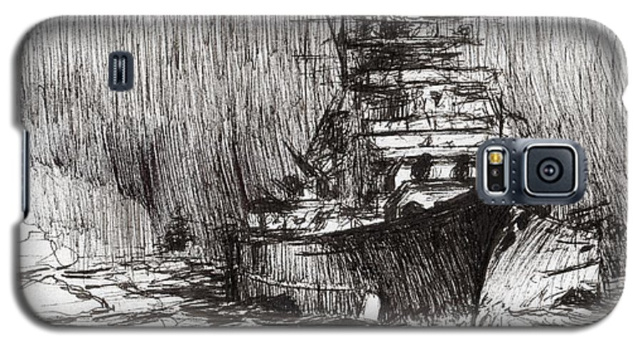 Warship Galaxy S5 Case featuring the drawing Bismarck Off Greenland by Vincent Alexander Booth