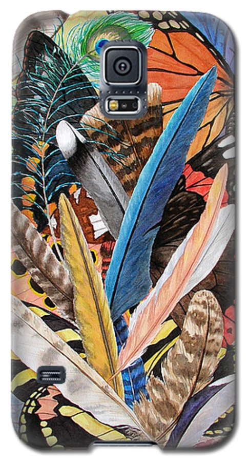 Feathers Galaxy S5 Case featuring the painting Bits Of Flight by Lucy Arnold