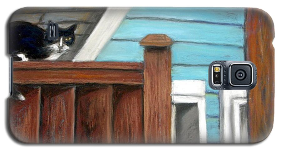 Cat Galaxy S5 Case featuring the painting Black Alley Cat by Minaz Jantz