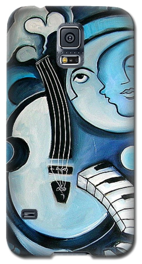 Abstract Galaxy S5 Case featuring the painting Black And Bleu by Valerie Vescovi