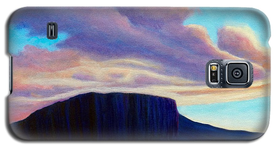Landscape Galaxy S5 Case featuring the painting Black Mesa Sunset by Brian Commerford