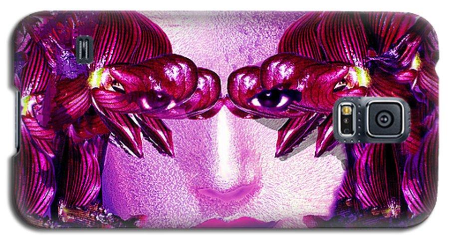 Oriental Galaxy S5 Case featuring the digital art Black Orchid Eyes by Seth Weaver