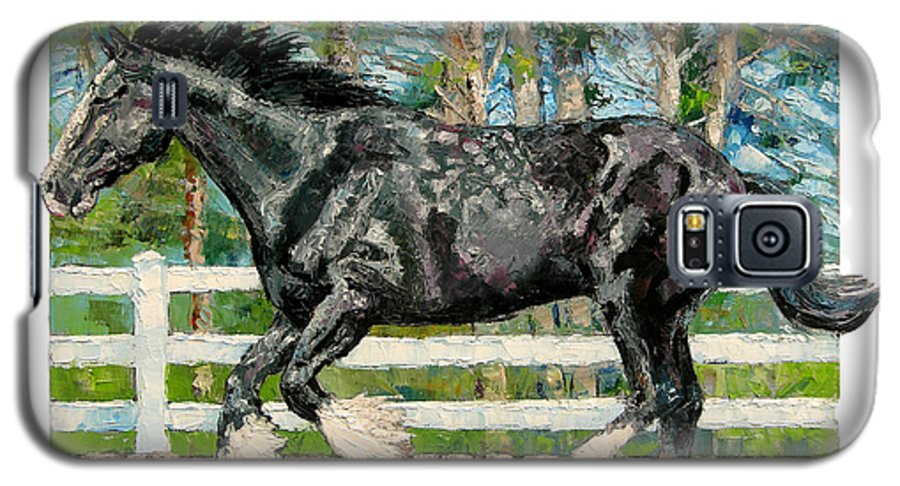 Horse Galaxy S5 Case featuring the painting Black Power by John Lautermilch