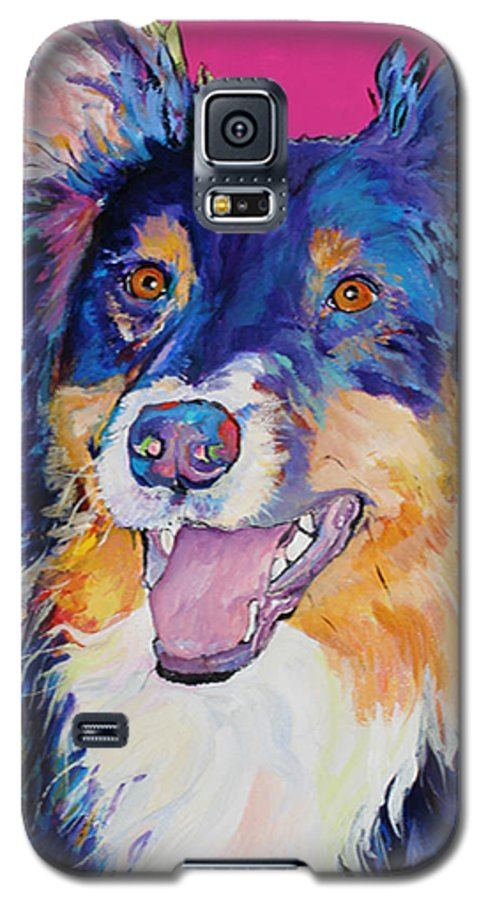 Dog Galaxy S5 Case featuring the painting Blackjack by Pat Saunders-White