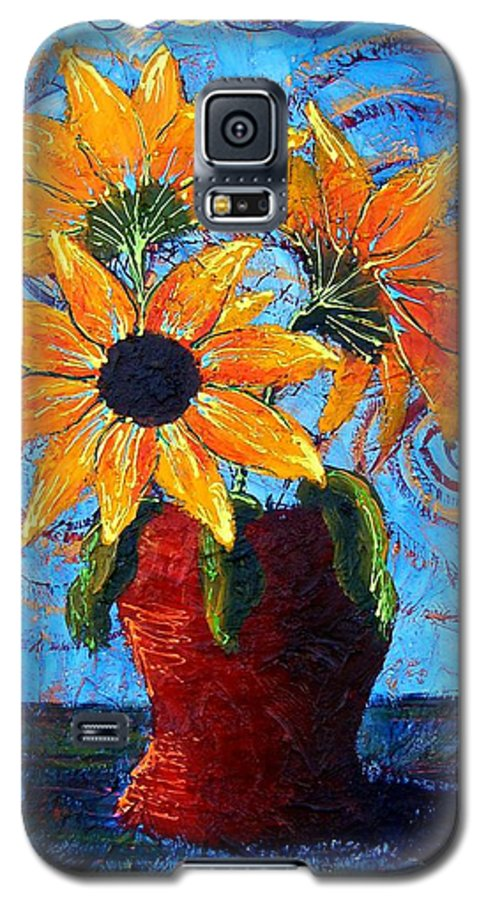 Galaxy S5 Case featuring the painting Blazing Sunflowers by Tami Booher
