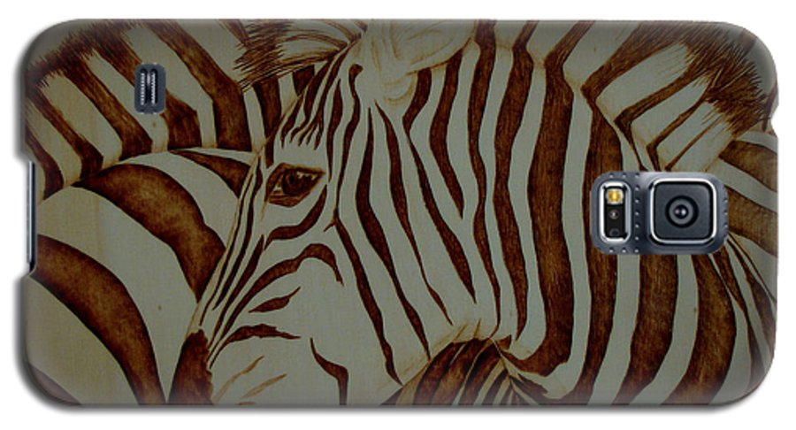 Pyrography; Woodburning; Sepia; Zebra; Stripes; Wild Life; Africa; Horse; Herd; Galaxy S5 Case featuring the pyrography Blending In by Jo Schwartz