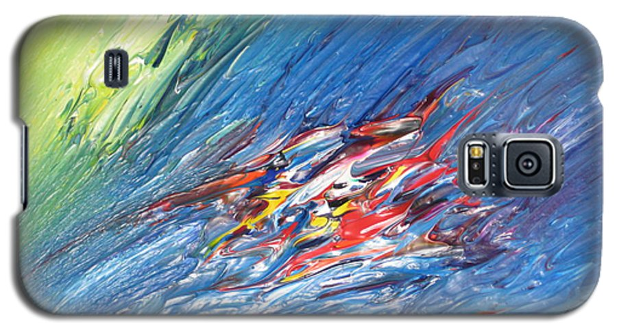 Abstract Galaxy S5 Case featuring the painting Bliss - E by Brenda Basham Dothage