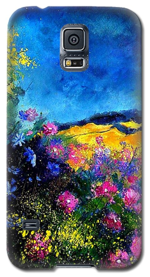 Landscape Galaxy S5 Case featuring the painting Blue And Pink Flowers by Pol Ledent