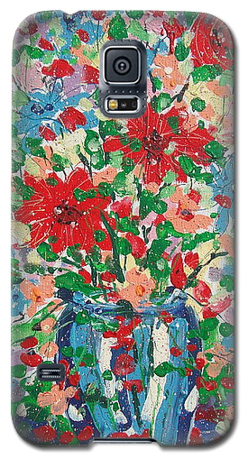Painting Galaxy S5 Case featuring the painting Blue And Red Flowers. by Leonard Holland
