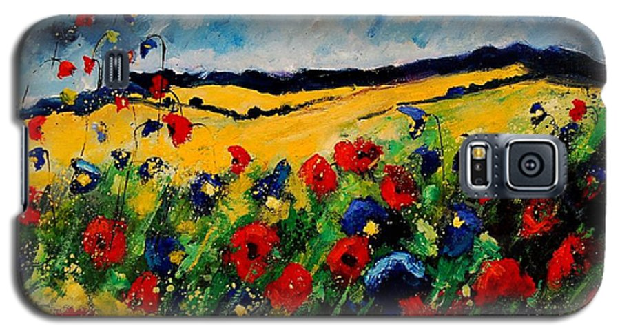 Poppies Galaxy S5 Case featuring the painting Blue And Red Poppies 45 by Pol Ledent