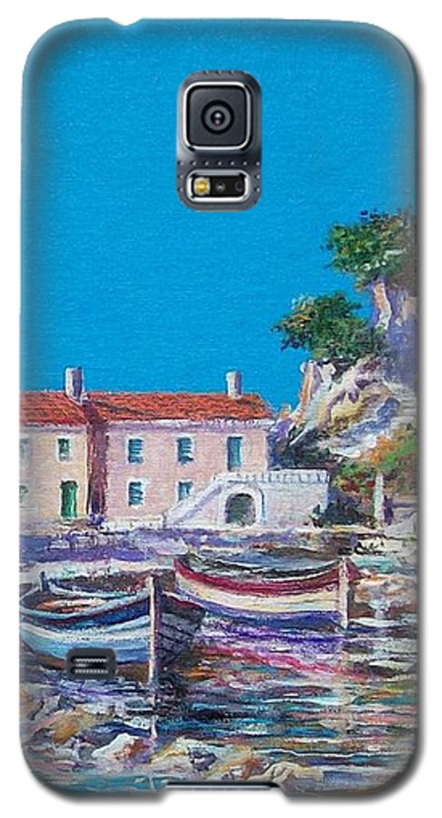 Original Painting Galaxy S5 Case featuring the painting Blue Bay by Sinisa Saratlic