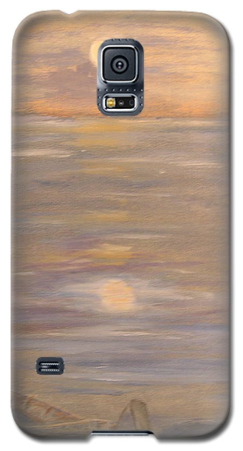 Boat Galaxy S5 Case featuring the painting Blue Boat by Patricia Caldwell