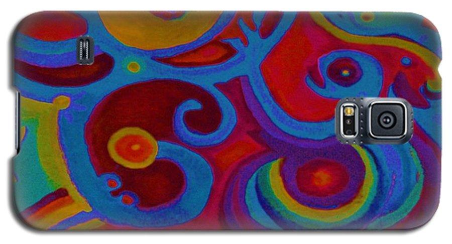 Abstract Galaxy S5 Case featuring the painting Blue Corn Flower by Sidra Myers