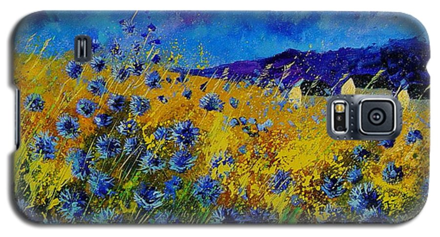 Poppies Galaxy S5 Case featuring the painting Blue Cornflowers by Pol Ledent