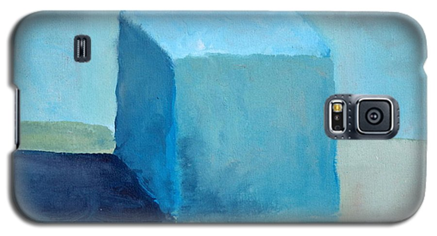 Blue Galaxy S5 Case featuring the painting Blue Cube Still Life by Michelle Calkins