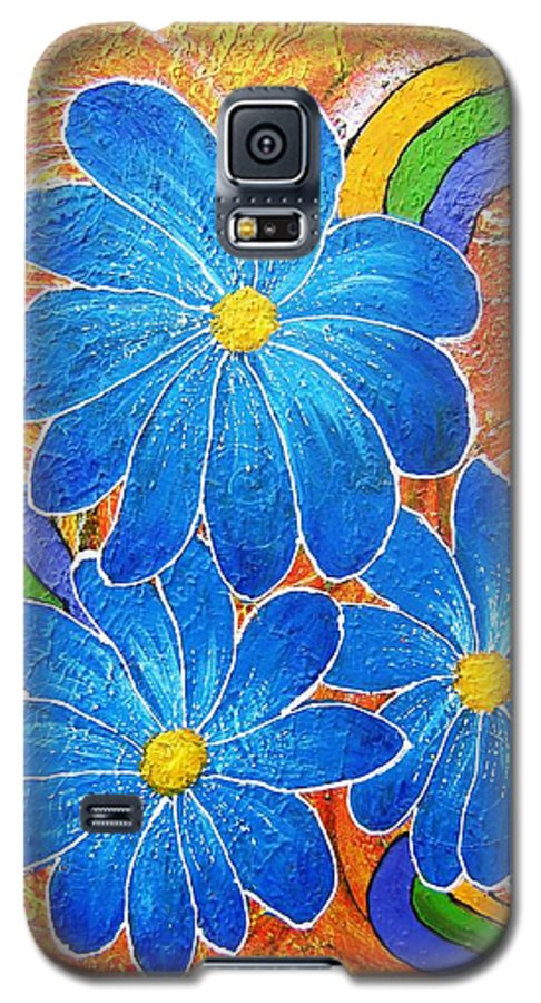 Galaxy S5 Case featuring the painting Blue Daisies Gone Wild by Tami Booher
