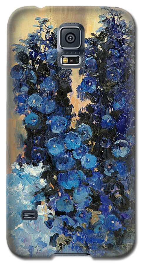 Floral Galaxy S5 Case featuring the painting Blue Delphiniums For Nancy by Glenn Secrest