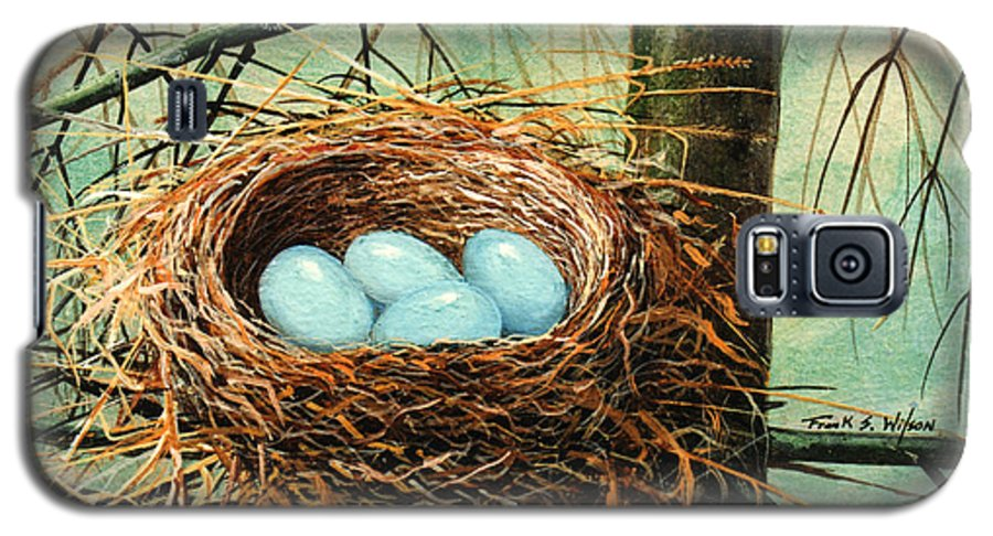 Wildlife Galaxy S5 Case featuring the painting Blue Eggs In Nest by Frank Wilson