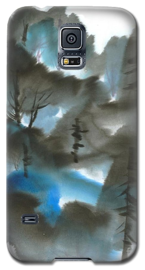 A Forest With A Tint Of Blue. This Is A Contemporary Chinese Ink And Color On Rice Paper Painting With Simple Zen Style Brush Strokes.  Galaxy S5 Case featuring the painting Blue Forest by Mui-Joo Wee
