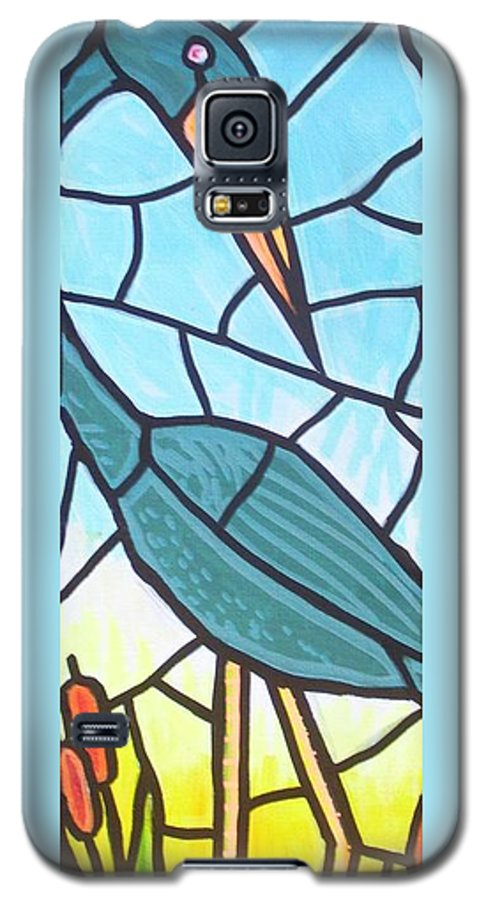 Heron Galaxy S5 Case featuring the painting Blue Heron by Jim Harris