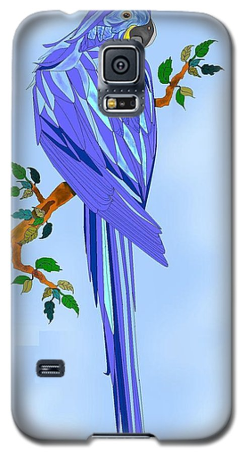 Blue Bird Galaxy S5 Case featuring the painting Blue Hyacinth by Anne Norskog