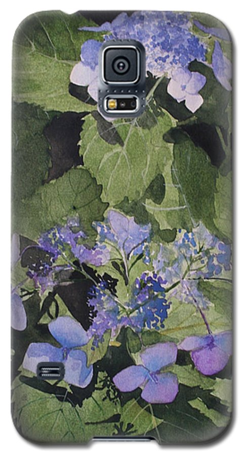 Flowers Galaxy S5 Case featuring the painting Blue Lace by Jean Blackmer