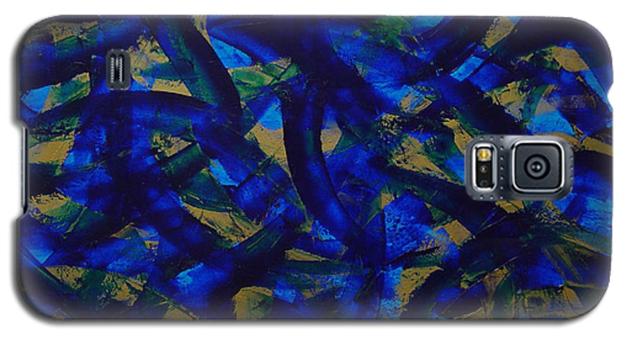 Abstract Galaxy S5 Case featuring the painting Blue Pyramid by Dean Triolo