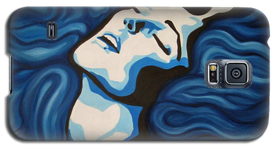 Blue Galaxy S5 Case featuring the painting Blue Shimmers by Jindra Noewi