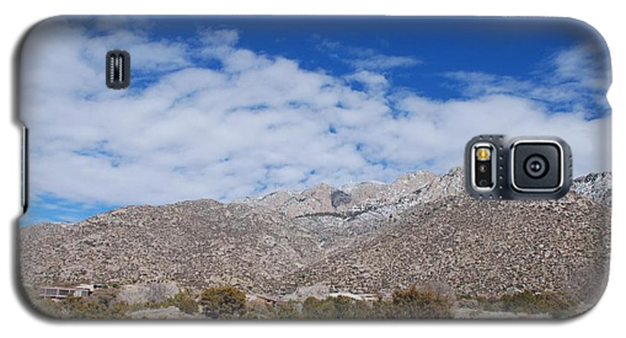 Sandia Mountains Galaxy S5 Case featuring the photograph Blue Skys Over The Sandias by Rob Hans