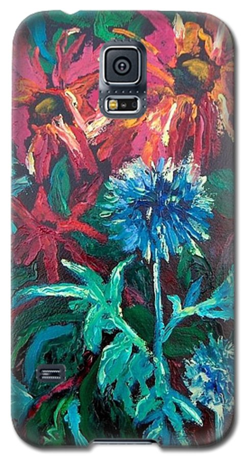 Red Galaxy S5 Case featuring the painting Blue Thistle And Bee Balm by Susan Spohn