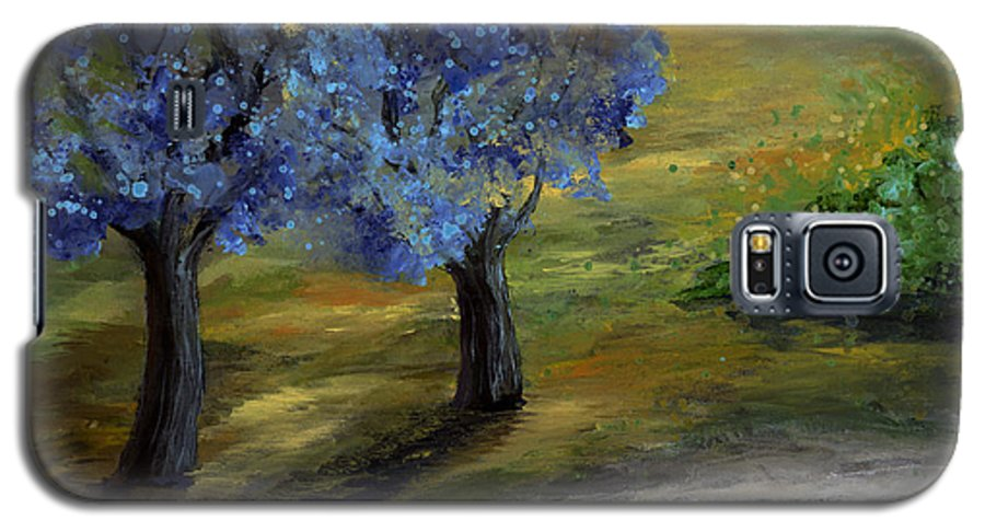 Trees Galaxy S5 Case featuring the painting Blue Trees by Laura Swink