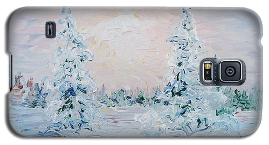Landscape Galaxy S5 Case featuring the painting Blue Winter by Nadine Rippelmeyer