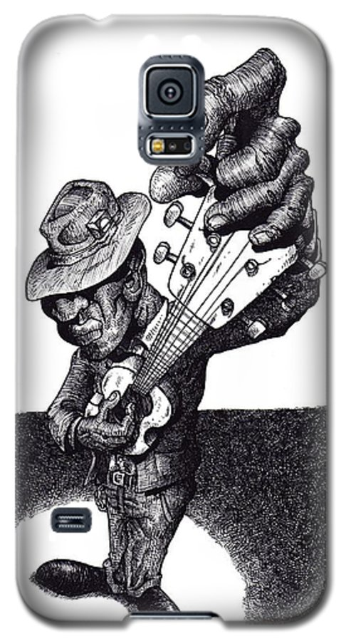 Blues Galaxy S5 Case featuring the drawing Blues Guitar by Tobey Anderson
