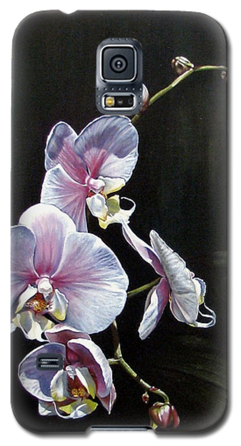 Orchid Galaxy S5 Case featuring the painting Blushing by Joan Garcia