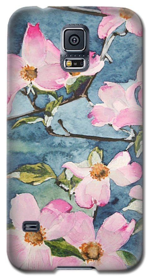 Flowers Galaxy S5 Case featuring the painting Blushing Prettily by Jean Blackmer