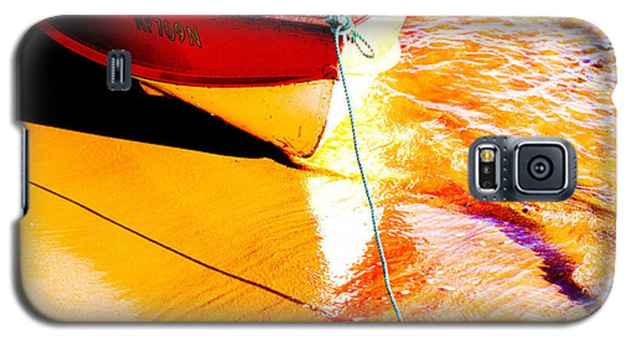 Boat Abstract Yellow Water Orange Galaxy S5 Case featuring the photograph Boat Abstract by Sheila Smart Fine Art Photography